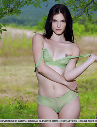 Aleksandrina nude in glamour GREEN LACE gallery