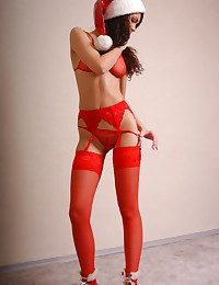 Youthfull marvelous sensuous Santa Claus poses indoor.