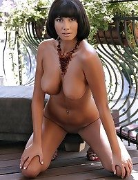 Ample dark haired in spectacular boobs and unchanging ass.