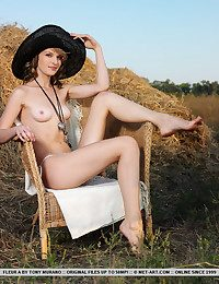 An outdoor, unversed area featuring an trendy youthfull lassie wearing a wide-brimmed hat and her panties, posing erotically on top of a cushioned couch.
