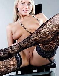 Joyful ash-blonde with yam-sized perky baps and downcast arms in lacy stockings.
