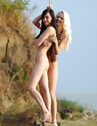 Spectacular together with lean platinum-blonde together with black-haired are posing out of the closet bare-ass