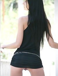 Cool and scrawny brown-haired honey Katerina unwraps her brief sundress